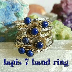 Lapis Lazuli Ring Sterling Silver 7 Bands